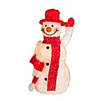 Pre-Lit 27.5-Inch Red-and-White Tinsel Snowman with Candy Cane