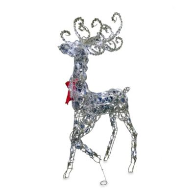 48-Inch Pre-Lit Crystal Standing Christmas Buck with Clear Lights
