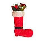 Pre-Lit 30-Inch Red Sisal Decorative Boot with Red-and-Green Gift Boxes