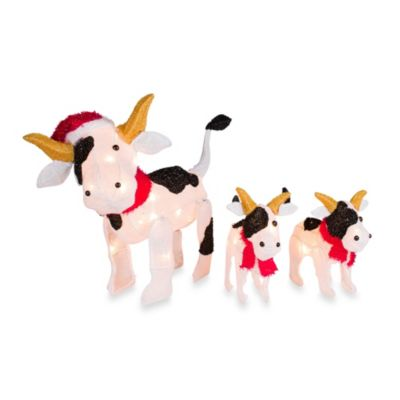 Pre-Lit Christmas Cow Family Yard Art Set of 3