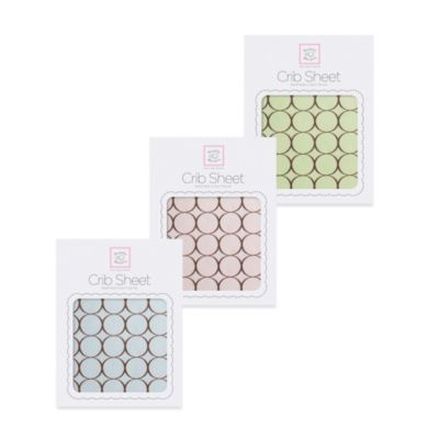 SwaddleDesigns® Flannel Fitted Crib Sheet with Brown Mod Circles in Pastel Blue