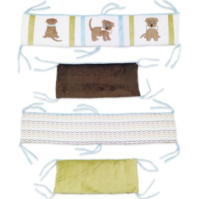 Blue Brown Multi Crib Bumper