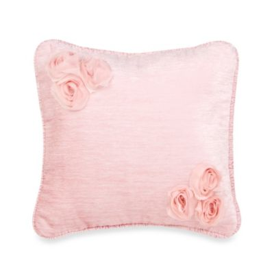 Glenna Jean Anastasia Pink Velvet Pillow with Dimensional Flower
