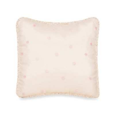 Glenna Jean Ribbons & Roses Pink Dot Embroidery Pillow