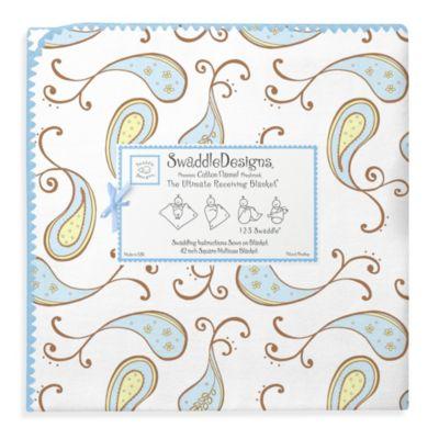 SwaddleDesigns® Triplets Paisley Ultimate Receiving Blanket in Pastel Blue