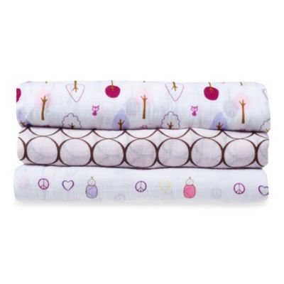 SwaddleDesigns® SwaddleLite Cute and Calm Marquisette 3-Pack Blanket Set in Pastel Pink