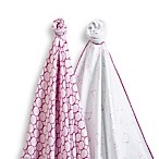 SwaddleDesigns® SwaddleDuo™ Mama & Baby Chickies Blankets in Very Berry