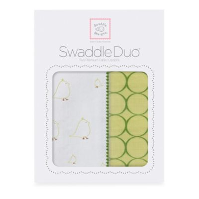 SwaddleDesigns® SwaddleDuo™ Mama & Baby Chickies Blankets in Pure Green