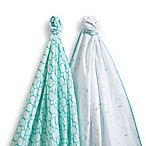 SwaddleDesigns® SwaddleDuo™ Mama & Baby Chickies Blankets in SeaCrystal