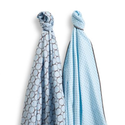SwaddleDesigns® SwaddleDuo™ Modern Duo Blankets in Pastel Blue (Set of 2)