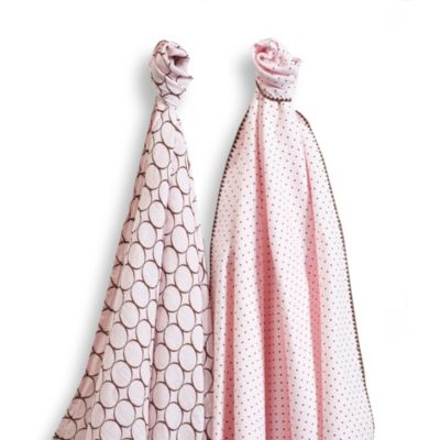 SwaddleDesigns® SwaddleDuo™ Modern Duo Blankets in Pastel Pink (Set of 2)