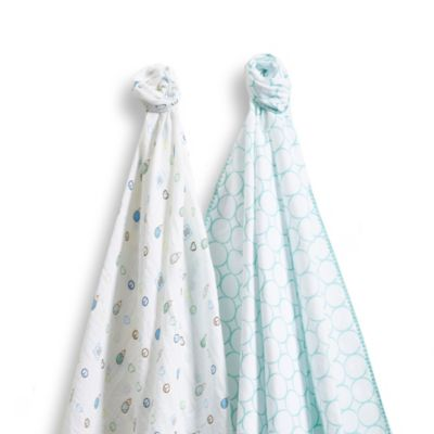 SwaddleDesigns® SwaddleDuo™ Mod Peace Love Blankets in SeaCrystal (Set of 2)