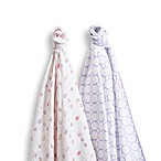 SwaddleDesigns® SwaddleDuo™ Mod Peace Love Blankets in Lavender (Set of 2)