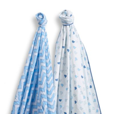 SwaddleDesigns® SwaddleDuo™ Blankets in Blue (Set of 2)