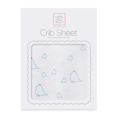 Swaddle Designs® Mama & Baby Chickies Flannel Fitted Crib Sheet in Bright Blue