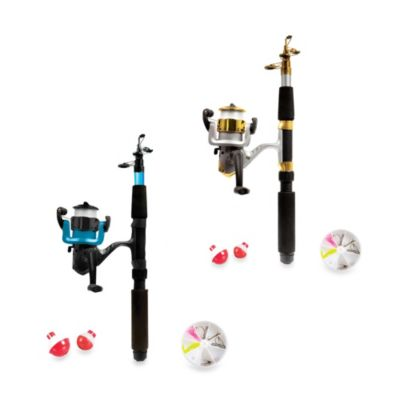 Telescopic Fishing Rod Set with Accessories in Blue