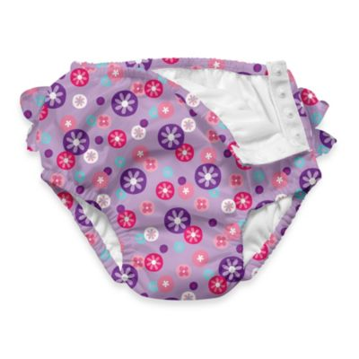 i play.® Lavender Retrodot Ultimate Ruffle Swim Diaper