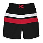 i play.® Mod Ultimate Swim Diaper Block Board Shorts in Black with Red