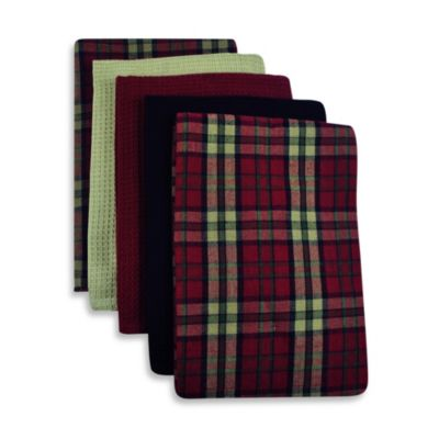 5-Piece 100% Cotton Woven Kitchen Towels in Lodge Plaid