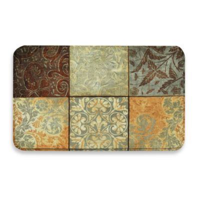 calm chef garden anti fatigue kitchen mat in green mosaic