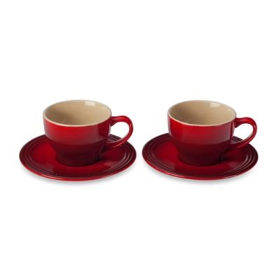 Le Creuset® Stoneware Cappuccino Cups and Saucers Set in Cherry (Set of 2)