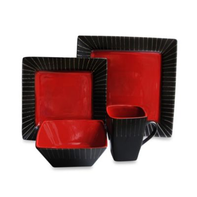 American Atelier Stonegate 16-Piece Dinnerware Set in Red/Black