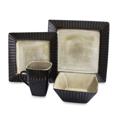 American Atelier Stonegate 16-Piece Dinnerware Set in Ivory/Black