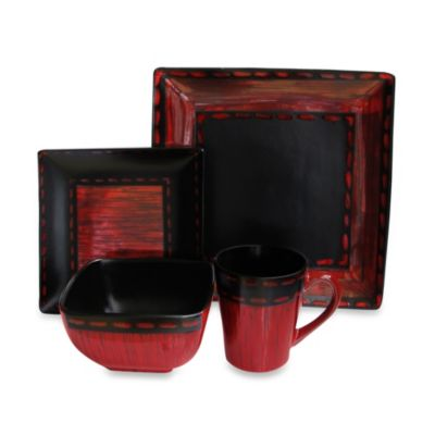 American Atelier Livingston 16-Piece Dinnerware Set in Red/Black