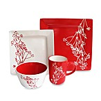 American Atelier Blossom Branch 16-Piece Dinnerware Set in White/Red