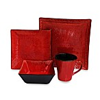 American Atelier Crimson Flare 16-Piece Dinnerware Set in Red/Black