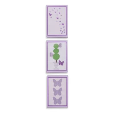 Petit Tresor Papillon 3-Piece Canvas Wall Art Set