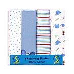 Spasilk®  Elephant Flannel Receiving Blanket (4-Pack)