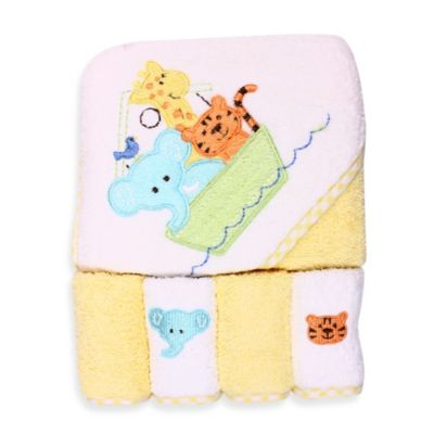 Spasilk® Ark Hooded Towel and 4-Pack Washcloth Set in Yellow