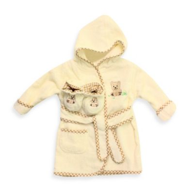 Spasilk® Ivory Bear 100% Cotton Bathrobe with Booties