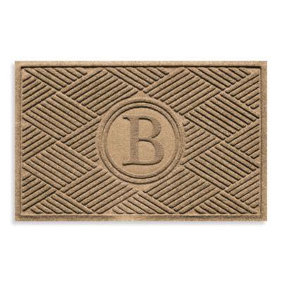 """Weather Guard™ Diamonds Monogrammed """"B"""" 23-Inch x 35-Inch Door Mat in Camel"""