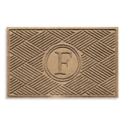 "Weather Guard™ Diamonds Monogrammed ""F"" 23-Inch x 35-Inch Door Mat in Camel"