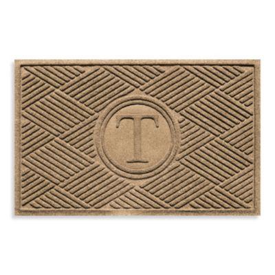 """Weather Guard™ Diamonds Monogrammed """"T"""" 2-Foot x 3-Foot Door Mat in Camel"""