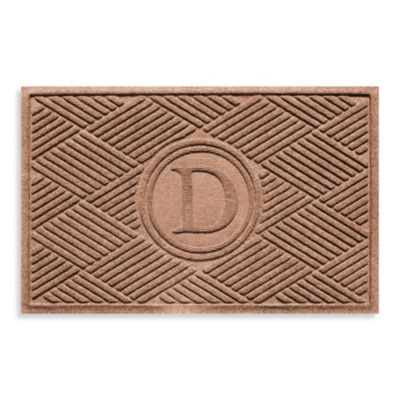 "Weather Guard™ Diamonds Monogrammed ""D"" 23-Inch x 35-Inch Door Mat in Medium Brown"