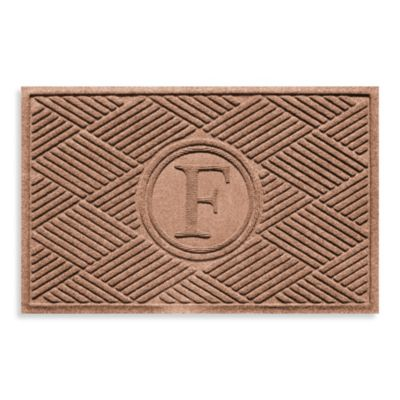 "Weather Guard™ Diamonds Monogrammed ""F"" 23-Inch x 35-Inch Door Mat in Medium Brown"