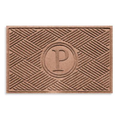 """Weather Guard™ Diamonds Monogrammed """"P"""" 23-Inch x 35-Inch Door Mat in Medium Brown"""