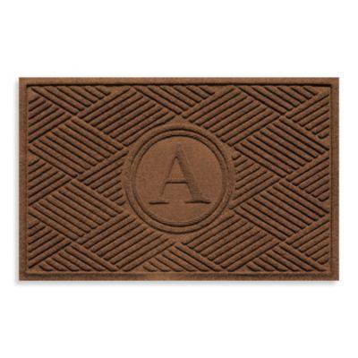 """Weather Guard™ Diamonds Monogrammed """"A"""" 23-Inch x 35-Inch Door Mat in Dark Brown"""