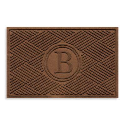 """Weather Guard™ Diamonds Monogrammed """"B"""" 23-Inch x 35-Inch Door Mat in Dark Brown"""