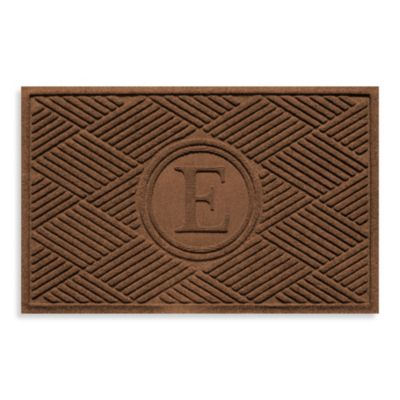 "Weather Guard™ Diamonds Monogrammed ""E"" 23-Inch x 35-Inch Door Mat in Dark Brown"