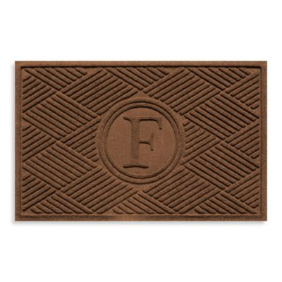 "Weather Guard™ Diamonds Monogrammed ""F"" 23-Inch x 35-Inch Door Mat in Dark Brown"
