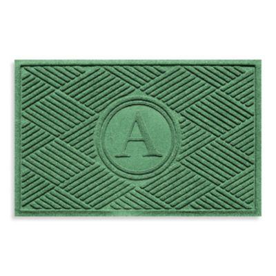 "Weather Guard™ Diamonds Monogrammed ""A"" 23-Inch x 35-Inch Door Mat in Light Green"