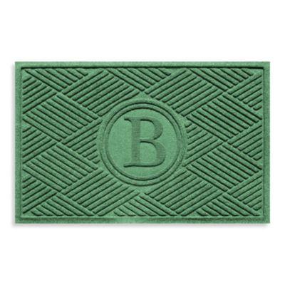 """Weather Guard™ Diamonds Monogrammed """"B"""" 23-Inch x 35-Inch Door Mat in Light Green"""