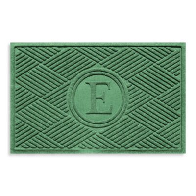 "Weather Guard™ Diamonds Monogrammed ""E"" 23-Inch x 35-Inch Door Mat in Light Green"