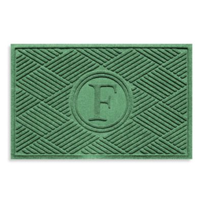 "Weather Guard™ Diamonds Monogrammed ""F"" 23-Inch x 35-Inch Door Mat in Light Green"