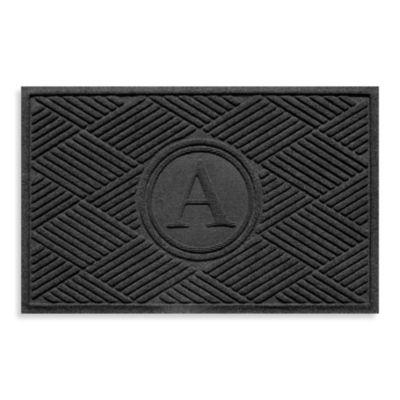 "Weather Guard™ Diamonds Monogrammed ""A"" 23-Inch x 35-Inch Door Mat in Charcoal"