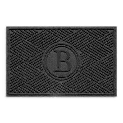 """Weather Guard™ Diamonds Monogrammed """"B"""" 23-Inch x 35-Inch Door Mat in Charcoal"""